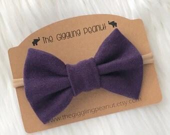 Purple Bow Nylon Headband or Clip // Baby Nylon Headband // Bow Hair Clip // Purple Baby Headband / Purple Baby Hair Clips / Girl Hair Clips