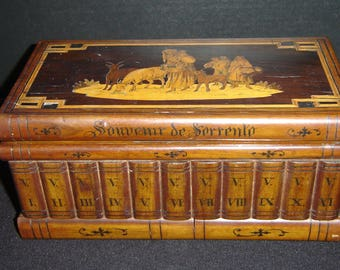 Antique Italian Grand Tour  Book Library Design Inlaid Gypsy Shepherds Box With Secret Compartment.