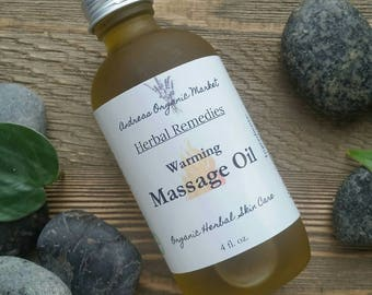 Organic Massage Oil For Sore Muscles, Pain Relieving Massage Oil, All Natural Massage Oil, Pain Relief Oil, Herbal Remedy for Pain, Vegan