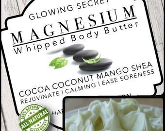 Magnesium Body Butter   Lotion   Relaxing Body Butter    Organic Healing Body Butter   Sore Muscles   Mango Shea Cocoa Coconut
