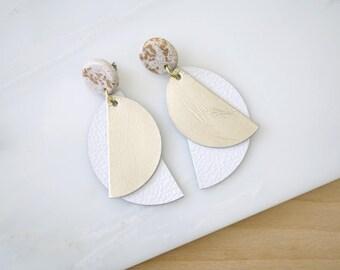 White earrings, geometric leather earrings, dangle earrings, statement earrings for women, polymer clay jewelry