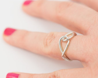 Silver ring, handmade from 925 silver wire, size 17