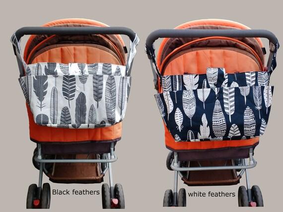 stylish pram caddy - stroller organiser - pram bag - pram organiser-new mother gift - black or white feathers
