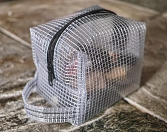 Cube Cosmetic Case-Small Makeup Bag-Transparent Cosmetic Pouch-Toiletry Storage-Upcycled Bag