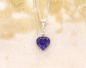 Blueberry Quartz Gemstone Heart Shaped Pendant On Silver Plated Chain Necklace