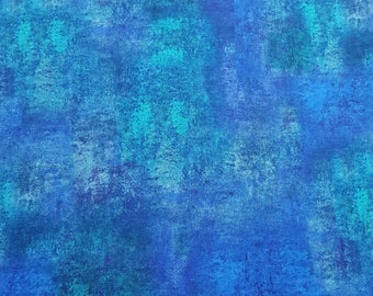 Liberty Viscose Jersey Knit Fabric - Tamsyn (B) - Abstract Design in Blue and Turquoise
