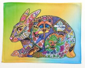 Microfiber Cloth Wipes Hare Animal Spirits Rabbit by Sue Coccia Native American Art Microfiber for Glasses, Computer Screens Ipad, & Phones