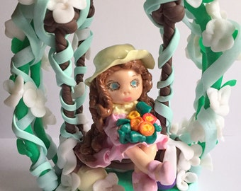 Idea birthday gift/cake topper/decoration/fimo made cake hand/figurine/swing/customizable/thumbnail/doll/decoration