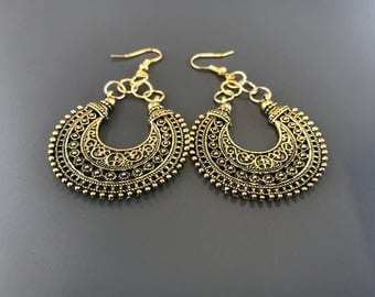 Antique gold chandelier drop earrings