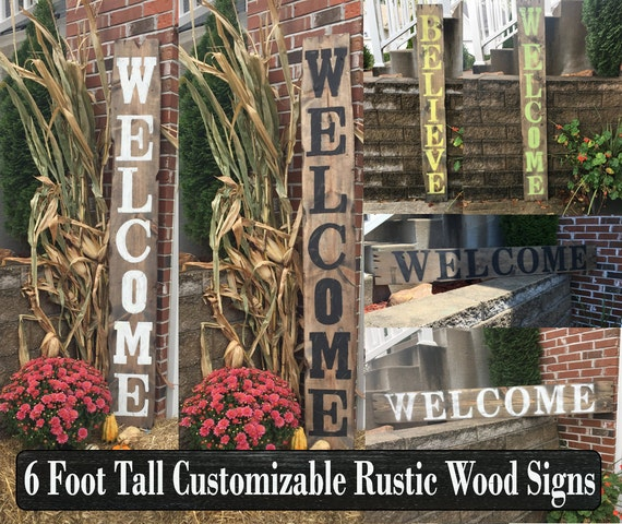 Reclaimed wood welcome sign Reclaimed wood porch welcome
