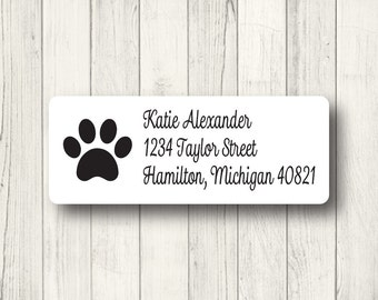Paw Print Address Labels - Custom Return Address Mailing Labels - Dog - Cat - Animal - Panther - Matte White, Kraft, or Clear Gloss
