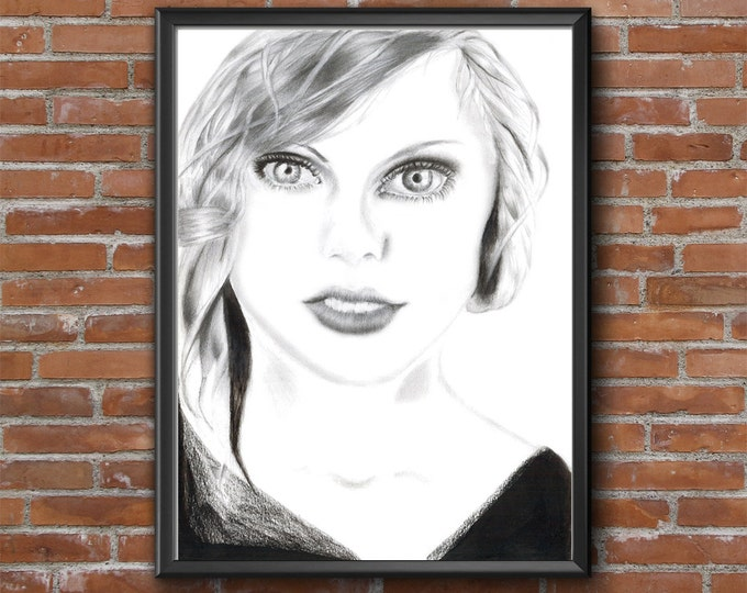 Girl Drawing Download, Drawn Portrait Poster, Instant Download Graphite Drawing, Hand Drawing, Instant Drawing, Poster Art Drawn