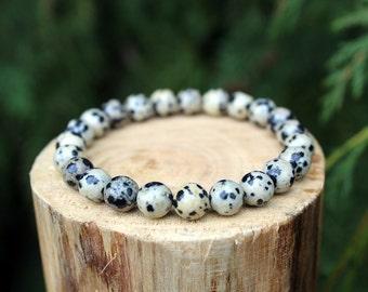 Dalmatian Jasper Bracelet, Dalmatian Jasper Bracelet, Yoga Bracelet, Gemstone Bracelet, Beaded Bracelet, Men's Bracelet, Women's Bracelet