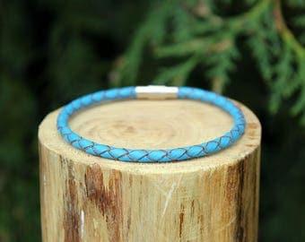Turquoise Braided Leather Bracelet, Leather Bracelet, Braided Leather, Braided Bracelet, Turquoise Leather, Mens Bracelet, Womens Bracelet