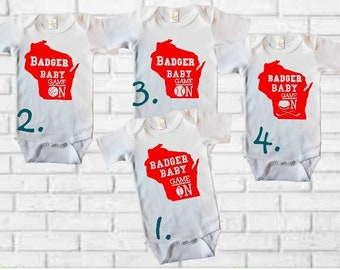 Wisconsin Onesies, Wisconsin Badgers TShirt or Onesies, Wisconsin Basketball Gifts, Wisconsin Gifts, Badger Football, Wisconsin Badger Baby