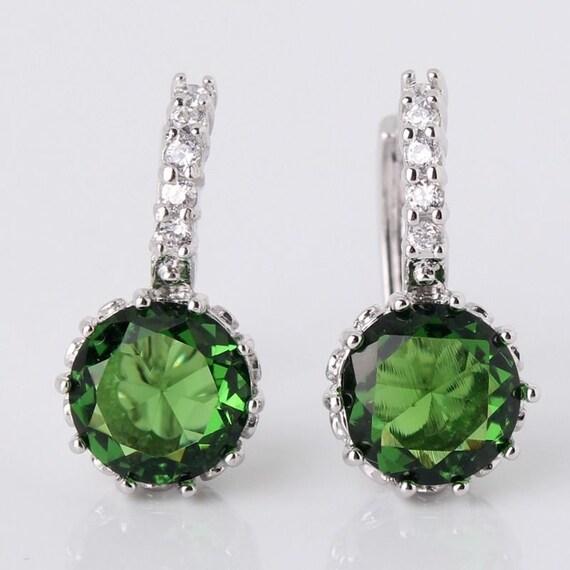 Lovely handmade 18ct white gold plated emerald crystal   earrings for pierced ears