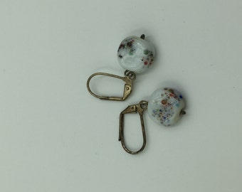 White Multi Colored Speckles Dangle Earrings    BUY 3 Get 1 FREE
