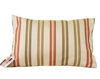 Coral Striped Pillow Cover, Pillow Cover with Coral and Green Stripes on a Natural Background