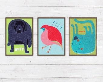3 Tierprints nach Wahl Tiere und Laute Wuff Piep Miau bunte Zeichnungen Illustrationen Baby Kinderzimmer Bilder Poster