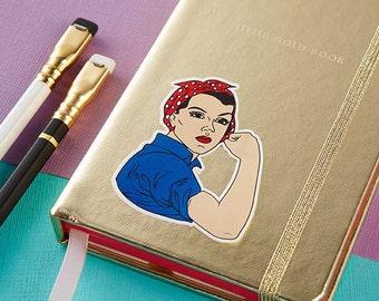 Rosie Riveter Die Cut Vinyl Sticker // Vinyl sticker, feminist stickers, cute stationery, planner stickers