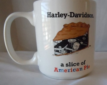 Harley Davidson Motorcycles A Slice Of American Pie 1990 Advertising Coffee Mug