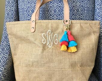 Stacked Tassel Bag Keychain, Fringe Keychain, Tassel Bag Charm, Handbag Charm