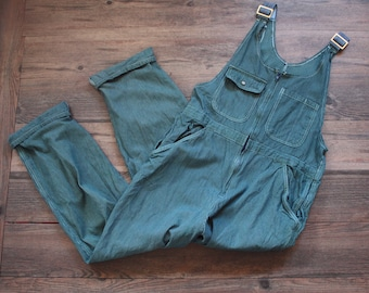 Vintage Teal Blue Hickory Stripe Overalls // Engineer Stripe Bib Overalls // Workwear // Zipper Front