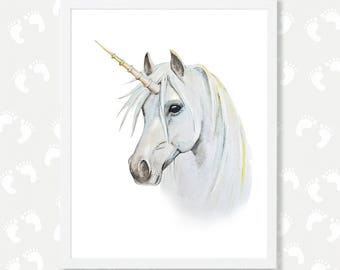 Unicorn Digital Nursery Print Download Art for Kids Printable Nursery Art White Unicorn Watercolor Painting Print Animal Magical Unicorn Art
