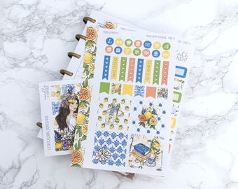 MATTE Mini HP Citrus Floral Planner Sticker Kit & Free Bonus Box Girl Sticker - For MINI Happy Planners