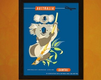 FINE ART REPRODUCTION Australia Travel Print Vintage Travel Poster Retro    Travel  Art Australia Poster Airlines  Sm