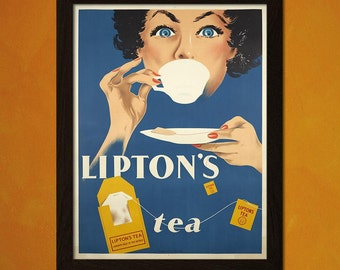 Printed on textured bamboo Art paper - Lipton's Tea Poster Food Poster Kitchen  Vintage Poster Kitchen  Art     Food Prints