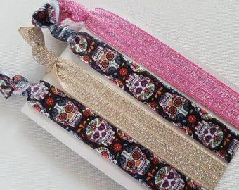 Sugar skull hair tie elastics, pink and gold glitter hair ties