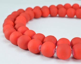 Glass Beads Matte Neon Red Rubber Over Glass Size 10mm Round For Jewelry Making # 789222045364