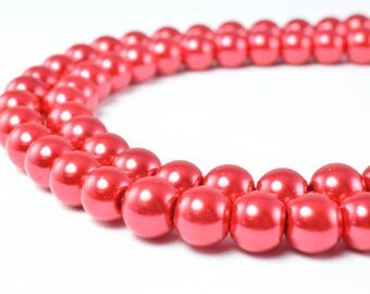 Glass Pearl Beads Red Size 8mm Shine Round Ball Beads for Jewelry Making Item#789222046385