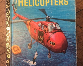 Helicopters - Aviation book - little golden book - 1970s aircraft book - boys room - boys prints - altered arts