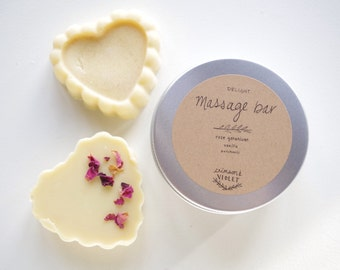 delight | massage bar | in reusable tin | solid lotion bar