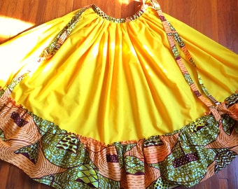 Golden Yellow Dance Skirt with Waxprint Accents: custom made, gathered skirt (various colors/patterns available)