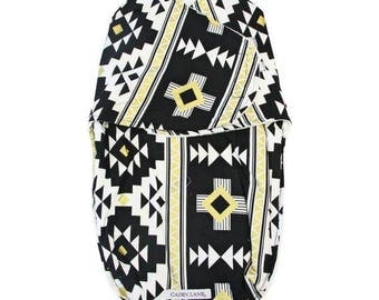 Black & Gold Aztec Swaddle Wrap | Gold and Black Tribal Baby Swaddle