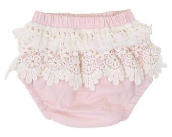 Pink Boho Fringe Baby Bloomers | Pink, Ivory, Blush, Lace, Fringe, Vintage, Boho, Baby Girl Diaper Cover