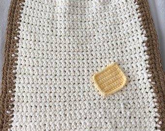 "Toast Baby Blanket with Butter Square 22""x29"""