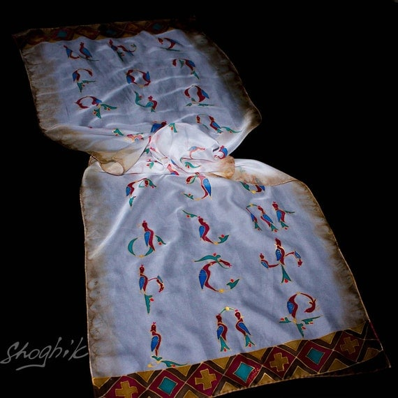 Armenian Gift for Her - Batik,hand painted silk scarf - Original Armenian Alphabet (36 letters)