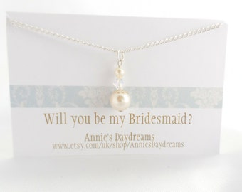 Will you be my bridesmaid? - Pearl and Crystal Bridesmaid Necklace - Bridesmaid Necklace - Cream Pearl Bridesmaid Necklace