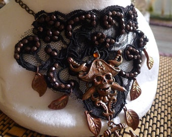 Steampunk Choker Pirate Necklace Black Lace Hand Beaded  Gothic Copper Leaves , OOAK!!!!