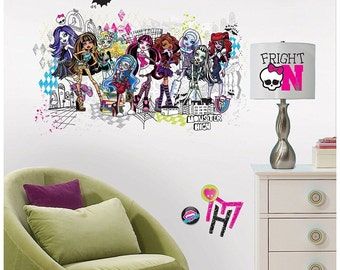 Monster high birthday/bedroom stick and peel wall decal decor