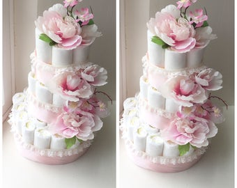 3-tier peonie flower diaper cake