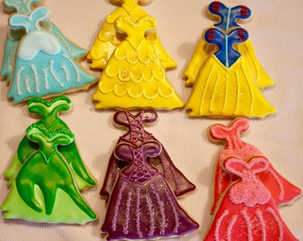 Princess Dress Cookies - Story Book Cookies - Fairy Tale - Once Upon a Time - Birthday Cookies - Shower Cookies - 1 Dozen!