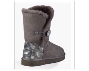 UGG Bailey BlingButton Swarovski Bling Boot - Grey