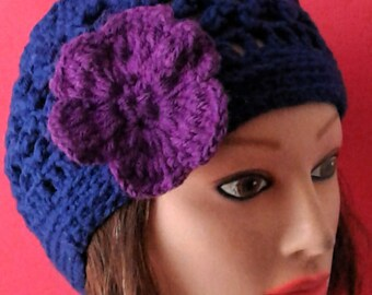 Blue and Purple Knitted  Beanie