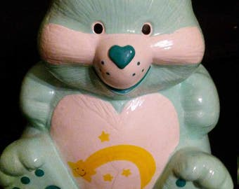 "Vintage 1980s CARE BEARS Tenderheart 6"" Ceramic Bank!!!"
