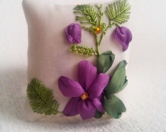 "Wrist pincushion ""Forest Violets"" Hand embroidered pincushion Embroidered violets Silk ribbon pincushion Floral pincushion for needls Fabric"